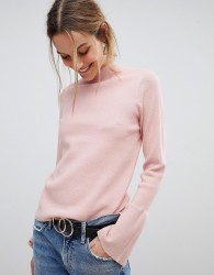 Pieces High Neck Jumper With Fluted Sleeve - Pink