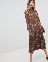 Pieces High Neck Midi Dress In Floral Print - Yellow