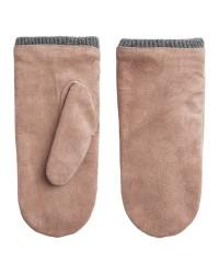 Pieces Jakima suede mittens (LYSEBRUN, S)