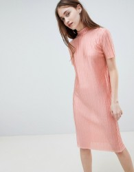 Pieces Jose Plisse Midi Dress - Pink