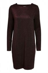 Pieces - Kjole - PC Annabella Glitter Deep Back Dress - Burgundy Lurex