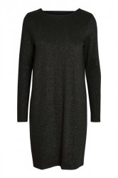 Pieces - Kjole - PC Annabella LS Glitter Deep Back Dress - Black Lurex