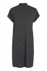 Pieces - Kjole - PC Billo T-Neck Dress - Black Stripe/Cloud Dancer