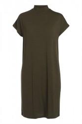 Pieces - Kjole - PC Billo T-Neck Dress - Dark Olive Stripe/Black