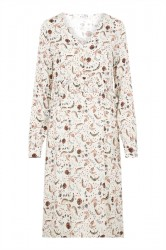 Pieces - Kjole - PC Bine LS Midi Dress - Bright White/Paisley