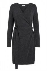 Pieces - Kjole - PC Darcy LS Wrap Dress - Dark Grey Melange