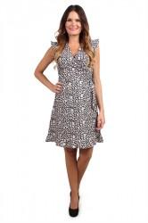 Pieces - Kjole - PC Ella Wrap Dress - Navy Blazer/Abstract