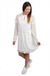 Pieces - Kjole - PC Elom LS Dress - Cloud Dancer