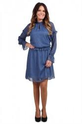 Pieces - Kjole - PC Elom LS Dress - Navy Blazer/Flower