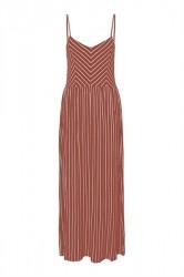Pieces - Kjole - PC Estelle Strap Ankle Dress - Redwood Stripes/Bright White