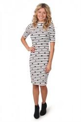 Pieces - Kjole - PC Hia T-neck 2/4 Dress - Bright White/Navy Blazer/Black