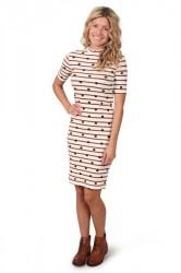 Pieces - Kjole - PC Hia T-neck 2/4 Dress - Bright White/Salmon/Navy Blazer