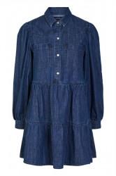 Pieces - Kjole - PC Liva LS Denim Dress - Dark Blue Denim