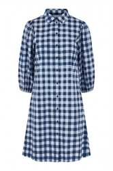 Pieces - Kjole - PC Maluki 3/4 Shirt Dress - Navy Blazer/Checks