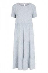 Pieces - Kjole - PC Megan SS Midi Dress - Dusty Blue/Flowers