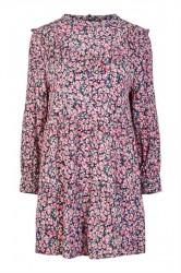 Pieces - Kjole - PC Sanja LS Dress - Black/Flowers