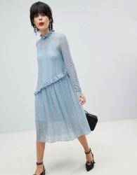 Pieces Lace Midi Dress - Blue