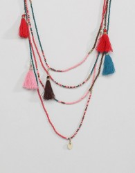 Pieces Layer Beaded Necklace With Tassles - Multi