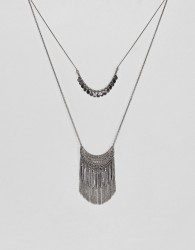 Pieces Layered Festival Necklace - Silver