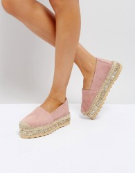 Pieces Leather Espadrilles with Glitter Contrast Sole - Pink