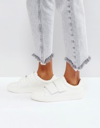 Pieces Leather Look Trainers - White