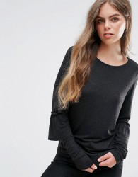 Pieces Matti Frill Sleeve Jersey Blouse - Black
