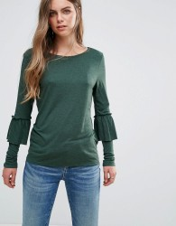 Pieces Matti Frill Sleeve Jersey Blouse - Green