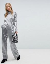Pieces Metallic Wide Leg Trouser - Silver