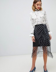 Pieces midi polka dot skirt - Multi
