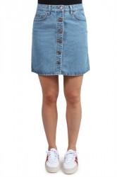 Pieces - Nederdel - PC Agnes HW Skirt - Light blue Denim
