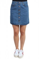 Pieces - Nederdel - PC Agnes HW Skirt - Medium blue Denim