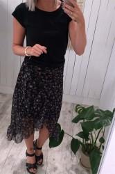 Pieces - Nederdel - PC Lulu Medi Mesh Skirt - Black/Flower