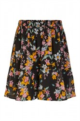Pieces - Nederdel - PC Nanna MW Skirt - Black/Big Flowers