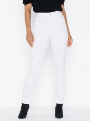 Pieces Pcleah Mom Hw Ank White-Ba/Cp Jeans