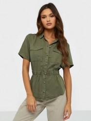 Pieces Pcnola Ss Lyocell Shirt-Bi Bc Bluser & skjorter