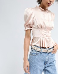 Pieces Pearl Detail Belt - Pink