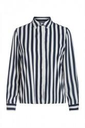 Pieces - Skjorte - PC Emina LS Shirt - Navy Blazer Stripes/Cloud Dancer