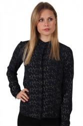 Pieces - Skjorte - PC Jen Foil LS Shirt - Navy Blazer