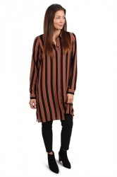 Pieces - Skjorte - PC Libby Long Shirt - Copper Brown Stripe