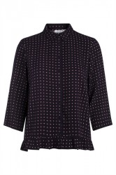 Pieces - Skjorte - PC Sanika 3/4 Shirt - Navy Blazer/Geo Tiles