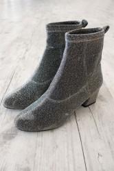 Pieces - Sko - PS Donna Glitter Boot - Silver Colour