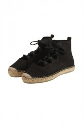 Pieces - Sko - PS Laci Leather Espadrillos Lace - Black