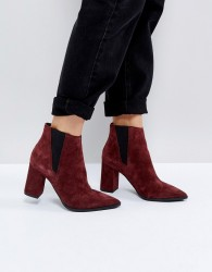 Pieces Suede Ankle Boots - Red