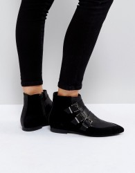 Pieces Suede Buckle Ankle Boots - Black