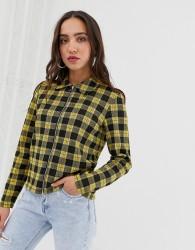Pieces tartan zip through lightweight jacket - Yellow