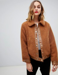 Pieces Teddy Jacket - Brown