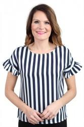 Pieces - Top - PC Emina Ruffle Top - Navy Blazer Stripes/Cloud Dancer