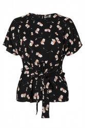 Pieces - Top - PC Gail Tie Top Camp - Black/Flower