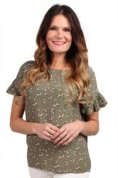 Pieces - Top - PC Megan Ruffle Top - Deep Lichen Green/Flowers