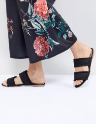 Pieces Two Part Mule With Fringing - Black